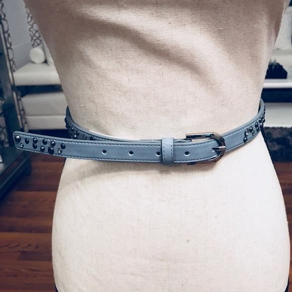 a979426b1 Accessories | Inc Women Blue Gray Rivets Skinny Belt | Poshmark